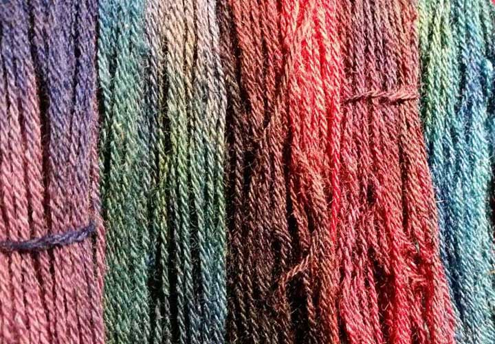 rainbow colored hand dyed yarn