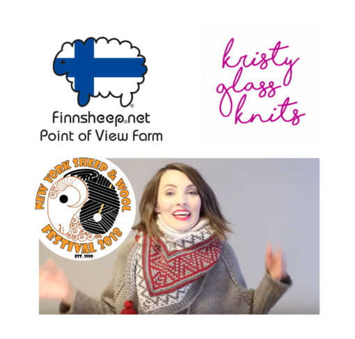 Point of view farm logo - Kristy Glass Kits logo, 2018 NY sheep and Wool festival logo, video still of Kristy Glass Knits you tube review of the 2018 Sheep and wool show in Rhinebeck, NY